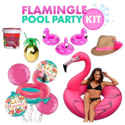 You love summer mingling and flamingos. So what better way to spend your summer day than with a party kit that lets you flamingle?! You will be set for your next pool party with the fun wearable accessories pool float and other items that come in this kit. BYOP (bring your own party) when you show up with a flamingo balloon kit and a giant pool float in the shape of a flamingo! Share the flamingo drink floats with your BFFs once you pour them one of your summer cocktails using the Strawberry & Margarita Daiquiri Mix Bucket Dispenser. And you will certainly make a splash with your style when they see you in a pink flamingo hat. This party kit is perfect for your own place or to take to another pool party. Either way you'll have fun getting your flamingle on this summer.