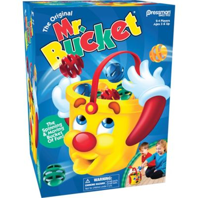 Get ready for buckets of fun with Mr. Bucket! Scoop up the balls that match your colored shovel and drop the balls into Mr. Bucket as he whirls and spins around the floor. Watch out! Mr. Bucket will try to block your ball with his hands and will even spit the balls right back out of his mouth onto the floor creating tons of laughter and fun! Get all three of your colored balls inside Mr. Bucket first to win! Requires 3 AA batteries (not included).  Mr. Bucket Game includes:  Mr. Bucket game unit 4 shovels (1 of each color) 12 balls (3 of each color) Sticker sheet Instructions