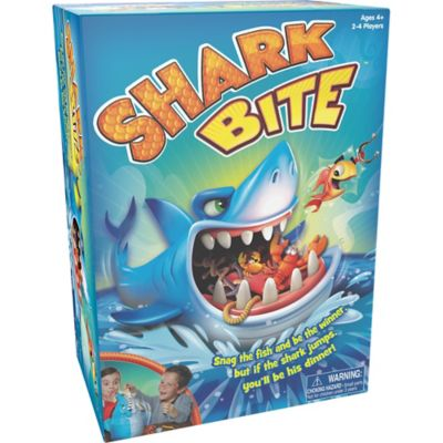 Get ready to have a reel-y good time when you play the Shark Bite Game! Place the fun and colorful sea creatures into the game unit with a snap and grab your friends to start playing. Players take turns rolling the die and fishing for the sea creatures using the fishing rods. But watch out & you never know when the shark is going to bite! This battery-free game is perfect for family game night and will have kids hooked at first bite! Ages 4 and up. Shark Bite Game includes:  Shark 12 sea creatures 2 fishing rods Die Sticker sheet Instructions