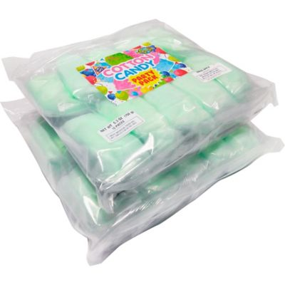 The little ones can enjoy their favorite sweet treat in green apple flavor with a Green Apple Cotton Candy Party Pack! This pack includes individual pouches of green apple-flavored cotton candy. You can give out this cotton candy at your child's carnival-themed birthday party or as a party favor for any other themed party! Green Apple Cotton Candy Party Pack product details:  20 bags per package Green Apple flavor 0.53oz individual net weight 10.6oz package net weight