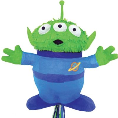 Woooo! Watch out for the Toy Story 4 Pull String Alien Pinata in the sky! This pull-string pinata is shaped like one of the iconic green three-eyed aliens. Kids of all ages can play by pulling the ribbons on the bottom until the right one releases the tasty contents (sold separately) hidden inside. This Toy Story pinata is an out-of-this-world addition to your child's Toy Story birthday party. Toy Story 4 Pull String Alien Pinata product details:  15 3-4in wide x 16in tall Holds up to 2lb of pinata filler Pinata filler bat and blindfold sold separately