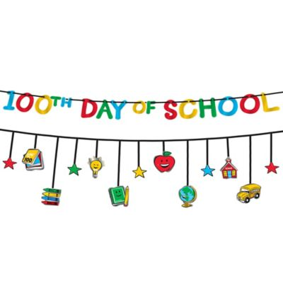 100 Days of School Multi-Coloredcolor Banners 2pc