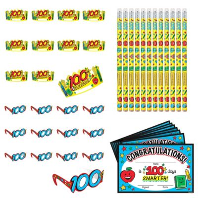 100 Days of School Classroom Party Favors 144pc