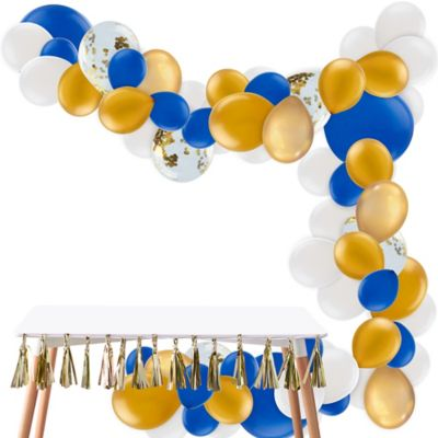 To view assembly instructions CLICK HERE. Give your party an instant wow-factor with the Air-Filled Blue & Gold Balloon Garland Kit! This kit includes everything you need to make a beautiful balloon garland  no helium required. Use this kit to create backdrops centerpieces and entryway displays that last for 2-3 days. Whether for birthdays baby showers or holiday parties this balloon decoration will be a stunning addition to your party decor. Do not use helium. Instructions not included with package! For instructions on how to assemble please see below or refer to the 'Instructions' image on this page. This kit includes:  25 Gold Chrome Balloons (SKU 830610) 15 Gold Pearl Balloons (SKU 632401) 4 Royal Blue Balloons (SKU 631430) 20 White Balloons (SKU 71071) 5 Ginger Ray Gold Confetti Balloons (SKU 830599) 50 Royal Blue Mini Balloons (SKU 632449) 20 Gold Pearl Balloons (SKU 632423) 1 White Curling Ribbon Keg (SKU 789021) 1 Balloon Arch Decorating Strip 25ft (SKU 862880)  Additional recommended supplies (sold separately):  Air pump (electric or hand-held) Double-sided tape or Scotch tape Scissors  To Assemble:  Inflate all balloons with air and tie a knot at the end. (Balloon pump not included. Recommended for quick inflation.) Insert balloon lips into decorating strip holes and gently pull balloon knots through the holes to secure. Alternate balloon sizes (9-inch 12-inch and 24-inch) and skip holes as needed on decorating strip as you attach balloons. Tie a long piece of curling ribbon to an empty hole at each end of the decorating strip and hang garland against a wall or from the ceiling. Apply tape to 5-inch balloons and fill in gaps on balloon garland.  Decorating Tip: Enhance balloon garlands by adding balloon tassels flowers foliage swirl decorations and tassel garlands to balloons using tape! Accessories sold separately.