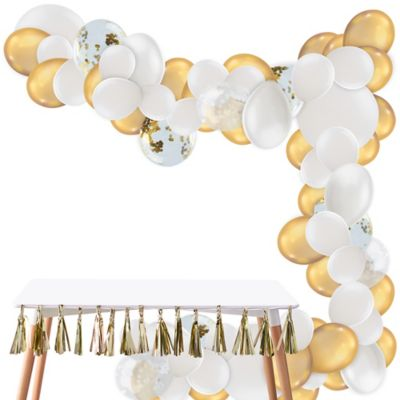 To view assembly instructions CLICK HERE. Give your party an instant wow-factor with the Air-Filled Gold & White Balloon Garland Kit! This kit includes everything you need to make a beautiful balloon garland  no helium required. Use this kit to create backdrops centerpieces and entryway displays that last for 2-3 days. Whether for birthdays baby showers or holiday parties this balloon decoration will be a stunning addition to your party decor. Do not use helium. Instructions not included with package! For instructions on how to assemble please see below or refer to the 'Instructions' image on this page. This kit includes:  15 White Pearl Balloons (SKU 632411) 5 Ginger Ray White Confetti Balloons (SKU 830603) 4 White Balloons (SKU 632442) 5 Ginger Ray Gold Confetti Balloons (SKU 830599) 50 Mini White Balloons (SKU 186066) 40 White Balloons (SKU 71071) 1 White Curling Ribbon Keg (SKU 789021) 1 Balloon Arch Decorating Strip 25ft (SKU 862880)  Additional recommended supplies (sold separately):  Air pump (electric or hand-held) Double-sided tape or Scotch tape Scissors  To Assemble:  Inflate all balloons with air and tie a knot at the end. (Balloon pump not included. Recommended for quick inflation.) Insert balloon lips into decorating strip holes and gently pull balloon knots through the holes to secure. Alternate balloon sizes (9-inch 12-inch and 24-inch) and skip holes as needed on decorating strip as you attach balloons. Tie a long piece of curling ribbon to an empty hole at each end of the decorating strip and hang garland against a wall or from the ceiling. Apply tape to 5-inch balloons and fill in gaps on balloon garland.  Decorating Tip: Enhance balloon garlands by adding balloon tassels flowers foliage swirl decorations and tassel garlands to balloons using tape! Accessories sold separately.