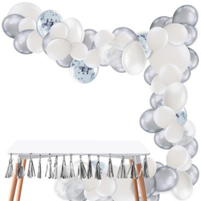 To view assembly instructions CLICK HERE. Give your party an instant wow-factor with the Air-Filled Silver & White Balloon Garland Kit! This kit includes everything you need to make a beautiful balloon garland  no helium required. Use this kit to create backdrops centerpieces and entryway displays that last for 2-3 days. Whether for birthdays baby showers or holiday parties this balloon decoration will be a stunning addition to your party decor. Do not use helium. Instructions not included with package! For instructions on how to assemble please see below or refer to the 'Instructions' image on this page. This kit includes:  15 White Pearl Balloons (SKU 632411) 5 Ginger Ray White Confetti Balloons (SKU 830603) 4 White Balloons (SKU 632442) 25 Silver Chrome Balloons (SKU 830609) 5 Ginger Ray Silver Confetti Balloons (SKU 830594) 50 Mini White Balloons (SKU 186066) 40 White Balloons (SKU 71071) 1 White Curling Ribbon Keg (SKU 789021) 1 Balloon Arch Decorating Strip 25ft (SKU 862880)  Additional recommended supplies (sold separately):  Air pump (electric or hand-held) Double-sided tape or Scotch tape Scissors  To Assemble:  Inflate all balloons with air and tie a knot at the end. (Balloon pump not included. Recommended for quick inflation.) Insert balloon lips into decorating strip holes and gently pull balloon knots through the holes to secure. Alternate balloon sizes (9-inch 12-inch and 24-inch) and skip holes as needed on decorating strip as you attach balloons. Tie a long piece of curling ribbon to an empty hole at each end of the decorating strip and hang garland against a wall or from the ceiling. Apply tape to 5-inch balloons and fill in gaps on balloon garland.  Decorating Tip: Enhance balloon garlands by adding balloon tassels flowers foliage swirl decorations and tassel garlands to balloons using tape! Accessories sold separately.