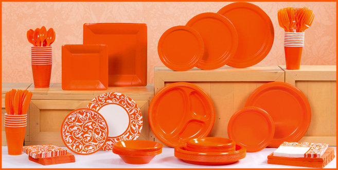solid orange tableware #1