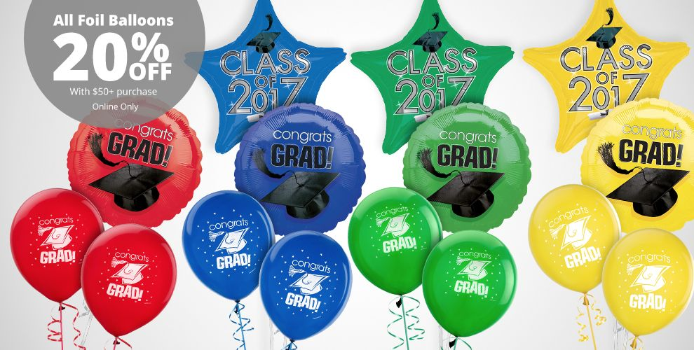 School Colors Graduation Balloons – All Foil Balloons 20% off with $50+ purchase Online Only
