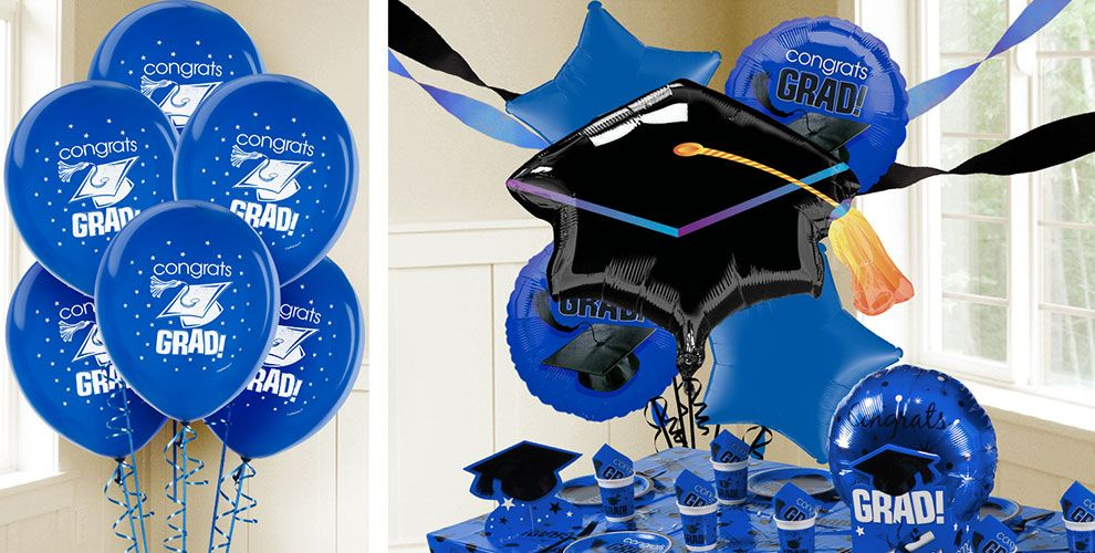 Royal Blue Graduation Balloons — Congrats Grad 2017