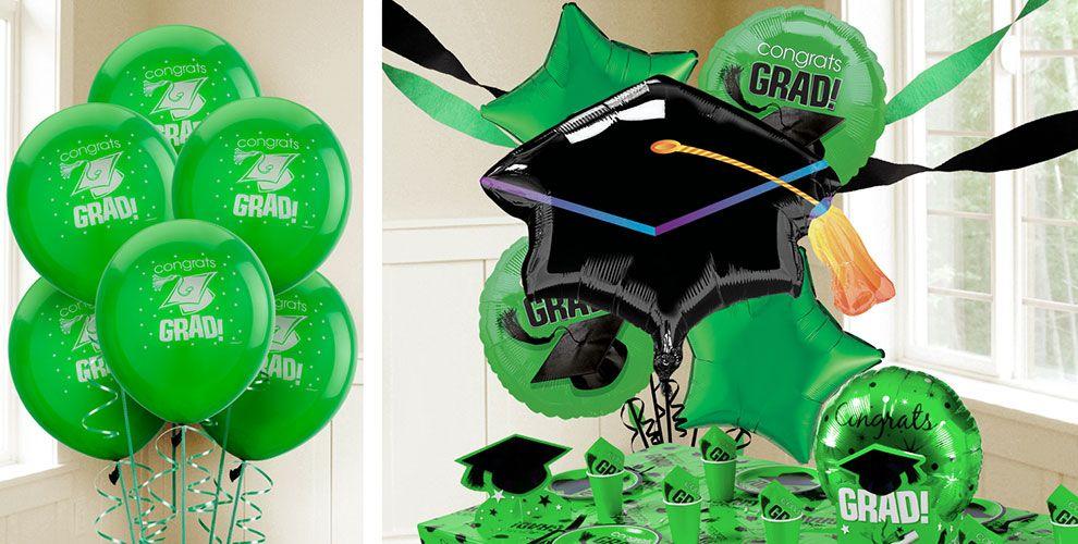 Green Graduation Balloons — Congrats Grad 2017