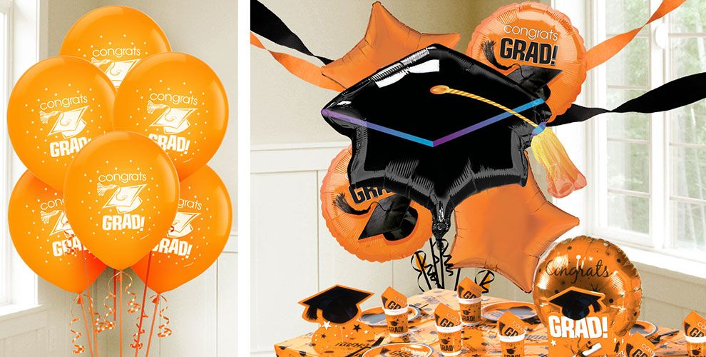 Orange Graduation Balloons — Congrats Grad 2017