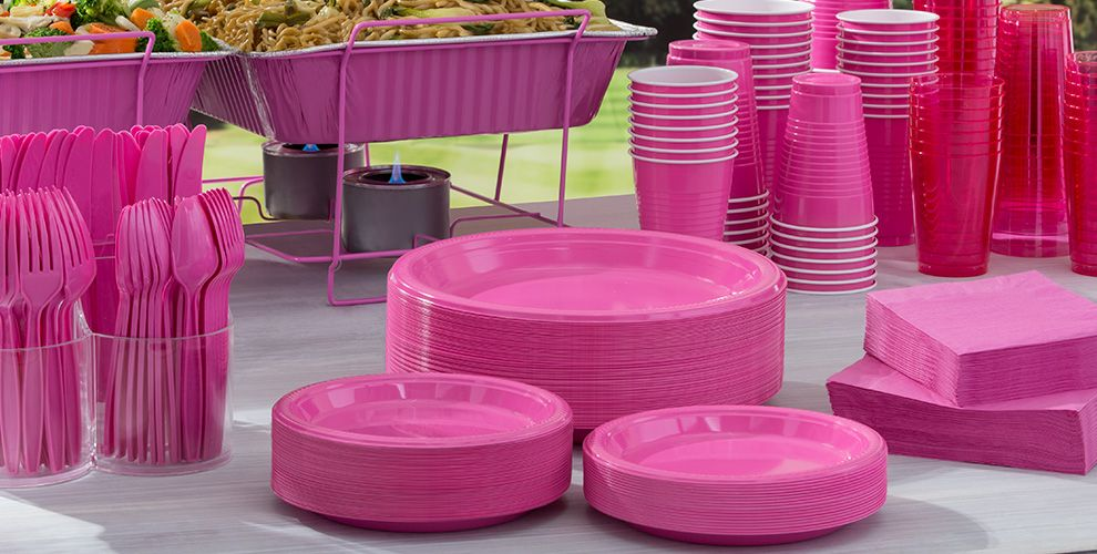 Bright Pink Tableware Big Party Packs