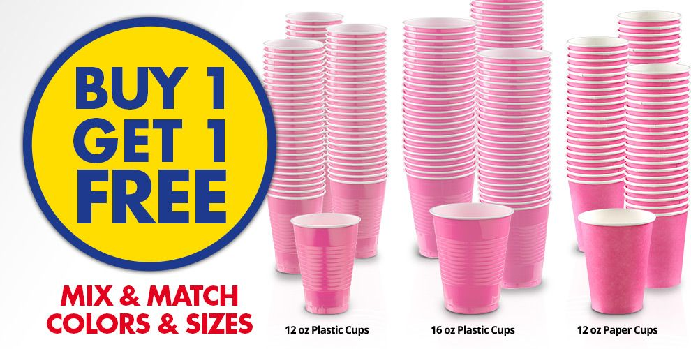 Buy 1 Get 1 Free – Mix & Match Colors &amp Sizes — Bright Pink Tableware