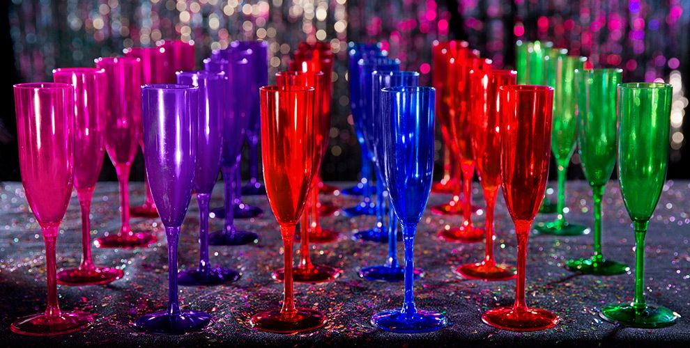 Colorful Champagne Flutes