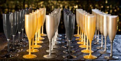 black silver u0026 gold champagne flutes