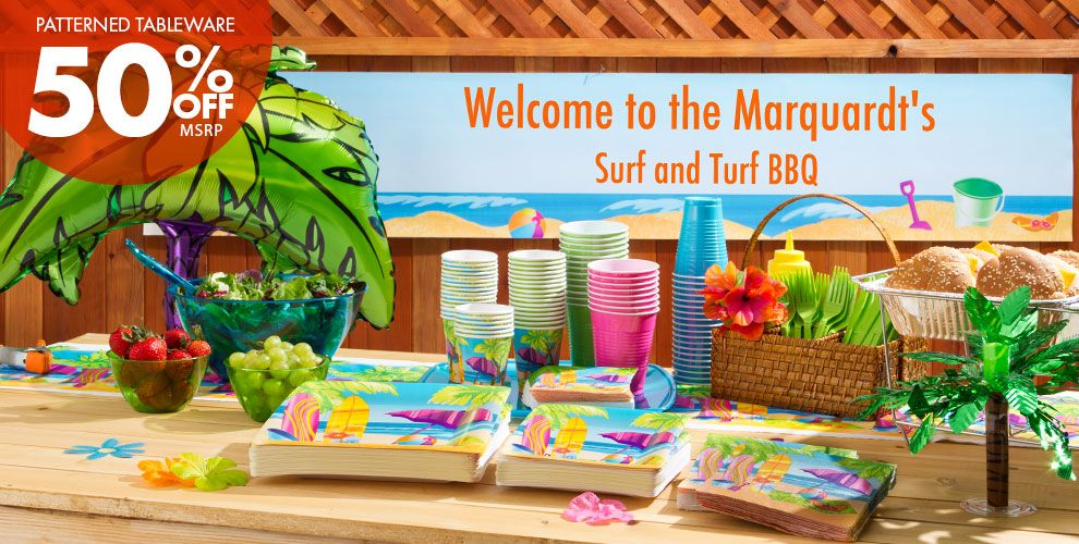 Surf's Up Party Supplies – 50% off Patterned Tableware MSRP