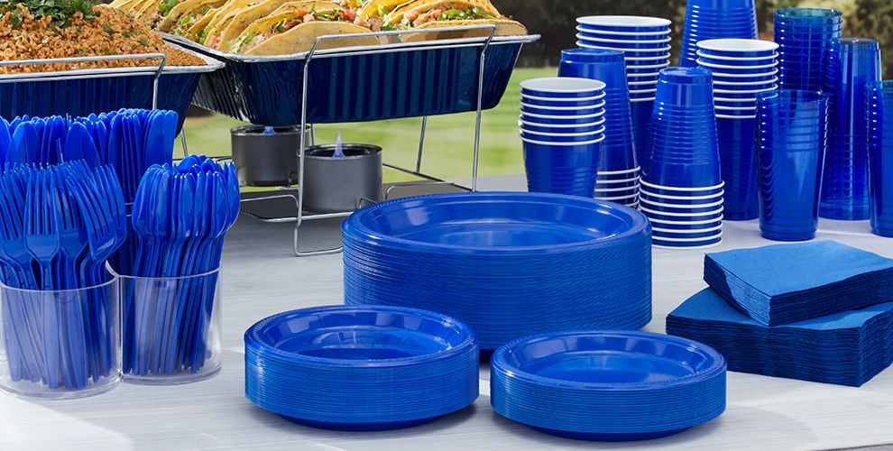 Royal Blue Tableware Big Party Packs