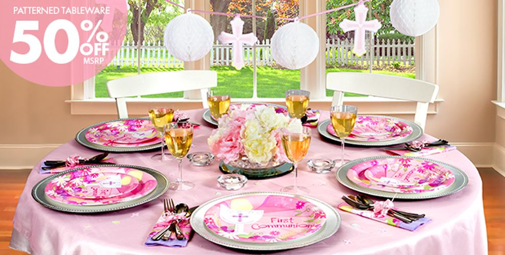 Pink first communion party supplies party city canada for 1st communion decoration ideas