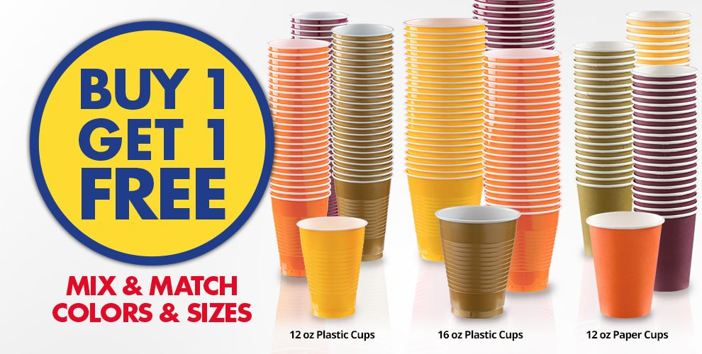 Buy 1, Get 1 Free Cups Mix & Match Colors & Sizes