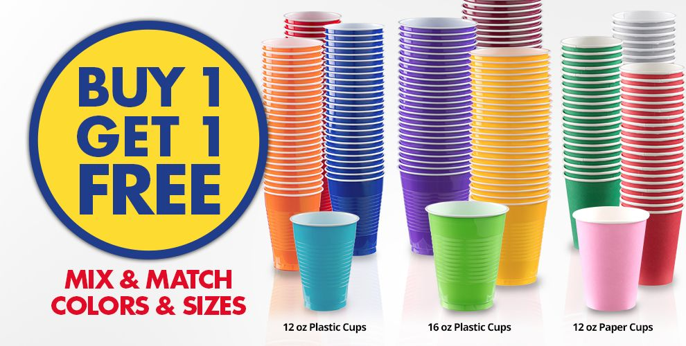 BOGO Cups Mix & Match Colors & Sizes