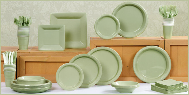 Solid Leaf Green Tableware #1