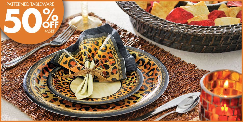 Safari chic leopard print party supplies party city for Animal print party decoration ideas