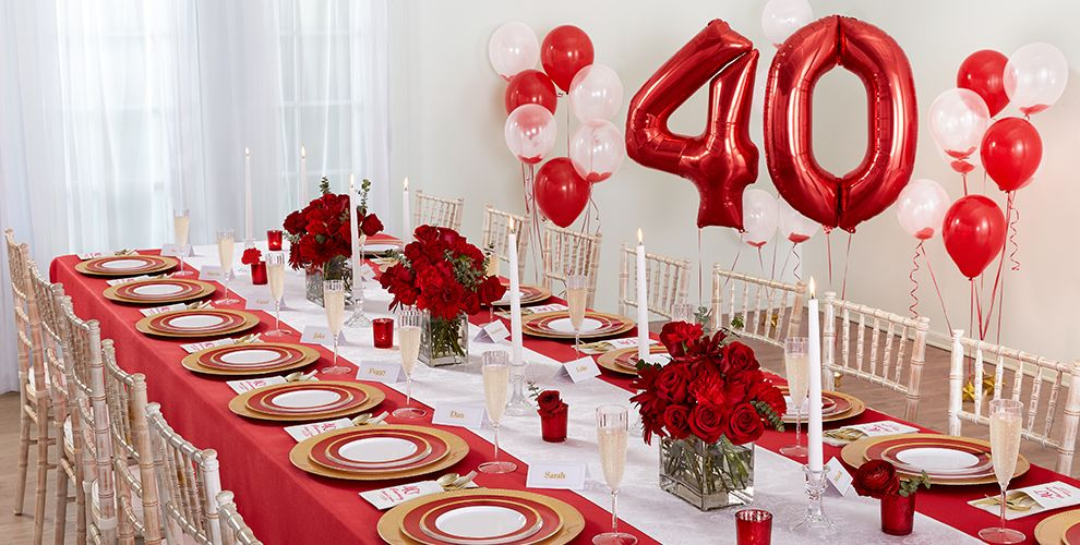 Ruby 40th wedding anniversary party supplies party city for 40th anniversary decoration ideas