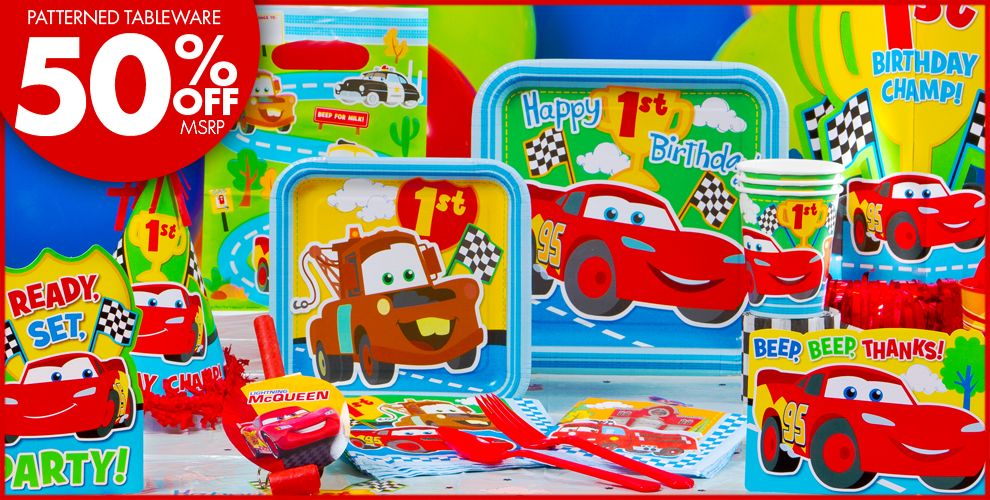 Cars 1st Birthday Party Supplies