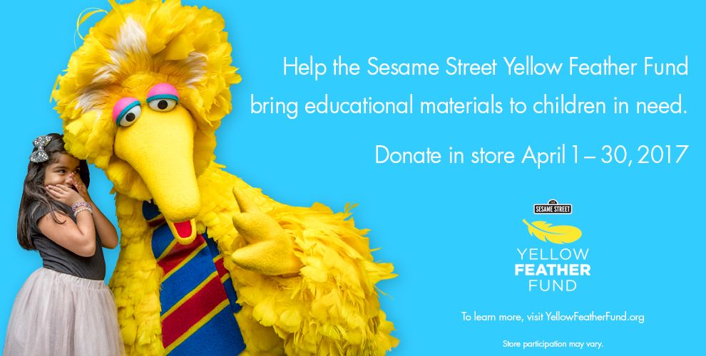 Sesame Street Party Supplies – Help the Sesame Street Yellow Feather Fund bring educational materials to children in need. Donate in store April 1-30, 2017