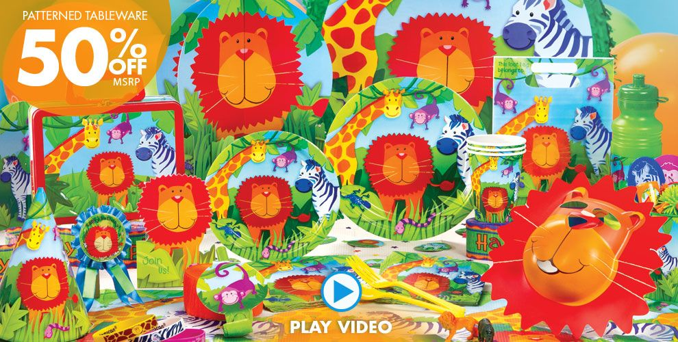 Jungle party supplies jungle theme party decorations for Animal party decoration