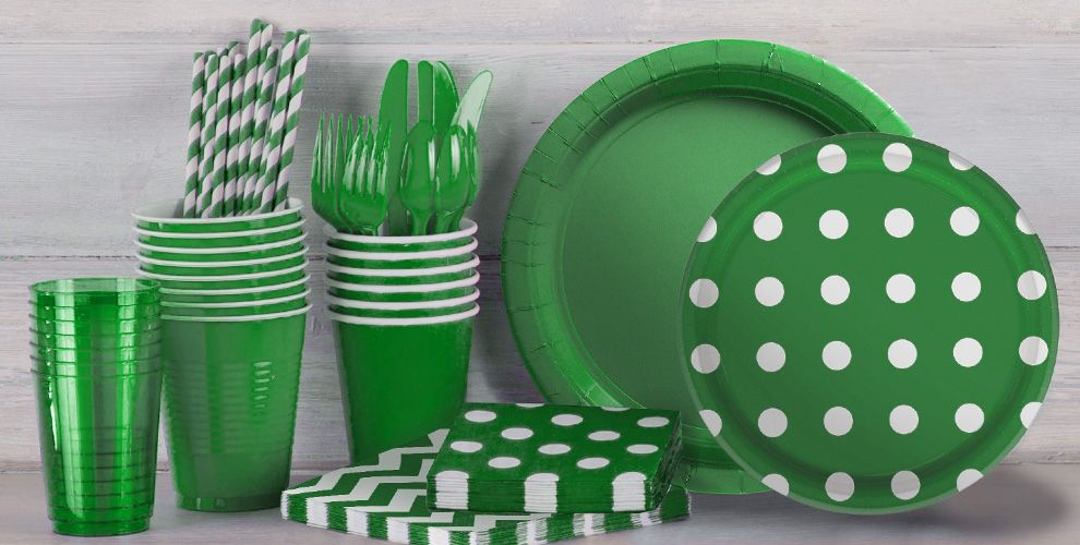 Festive Green Polka Dot Supplies