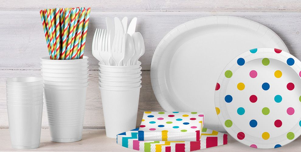 Patterned Tableware 50% off MSRP — White & Silver Polka Dot Party Supplies