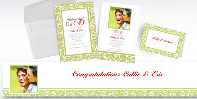 Leaf Green Wedding Custom Invitations and Banners #2