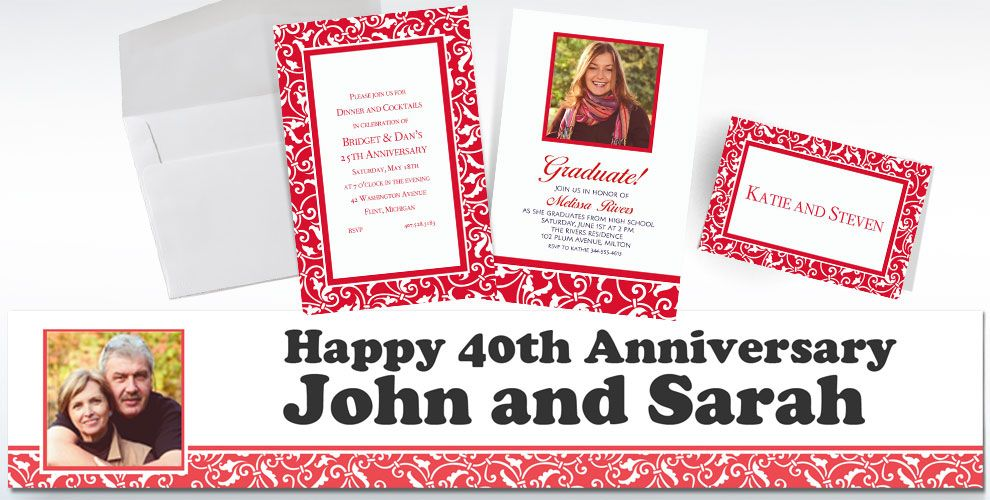 40th Anniversary Custom Invitations & Thank You Notes