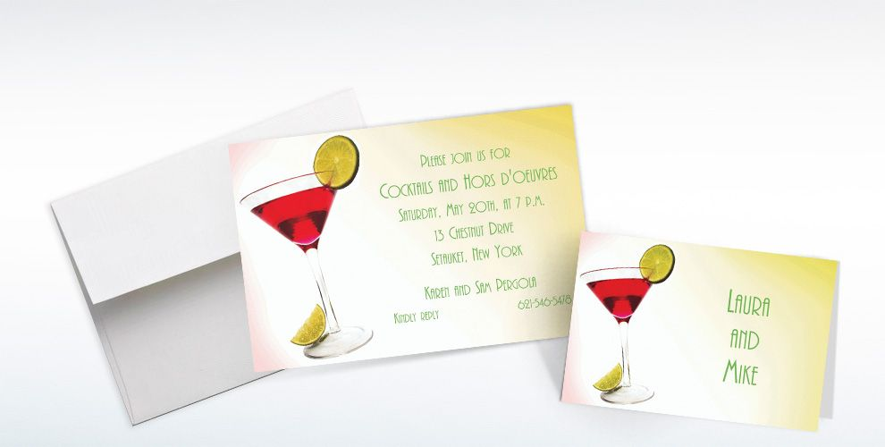 Cocktail Party Custom Invitations & Thank You Notes