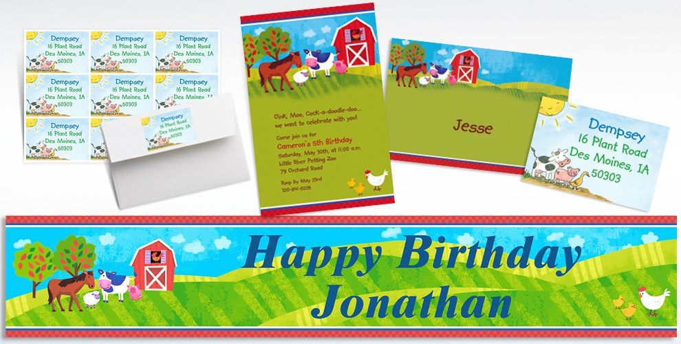 Barnyard Custom Invitations & Thank You Notes