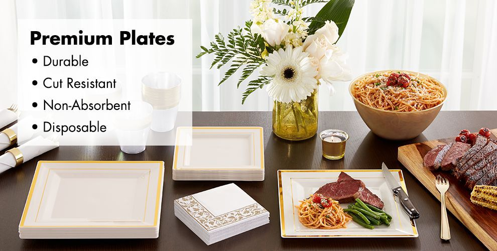 Cream Gold Premium Tableware — Durable, Cut Resistant, Non-Absorbent, & Disposable