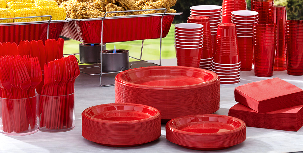 Red Tableware Big Party Packs