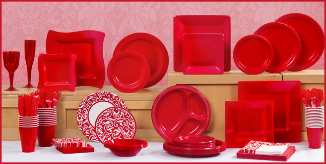 solid red tableware #1
