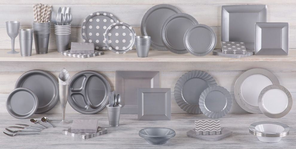 Silver Solid Color Tableware