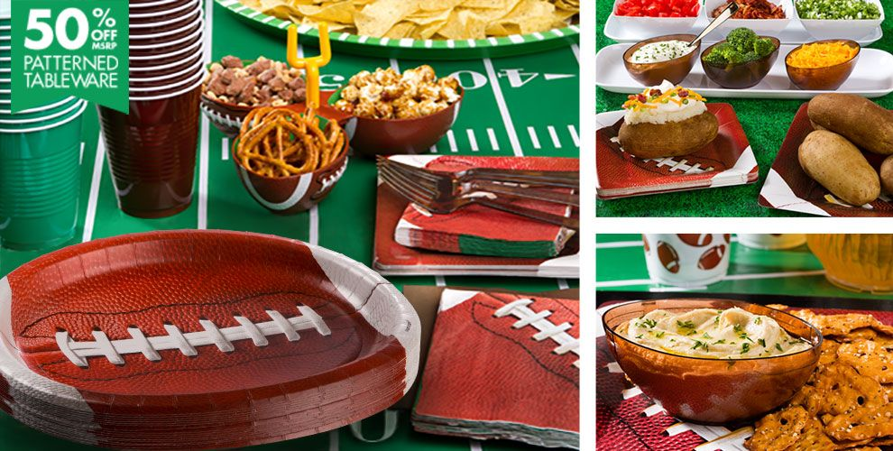Football Party Supplies – 50% off Patterned Tableware MSRP