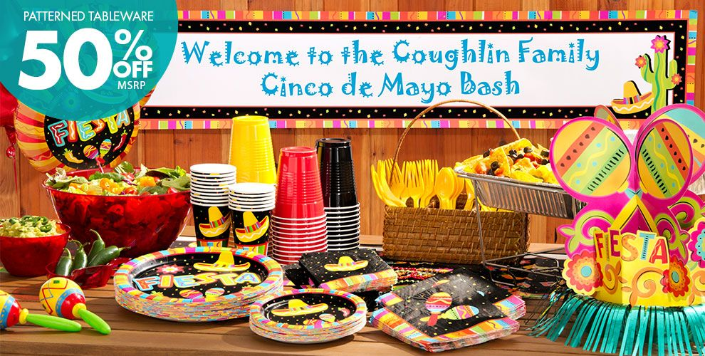 Bright Fiesta Theme Party Supplies — Patterned Tableware 50% off MSRP