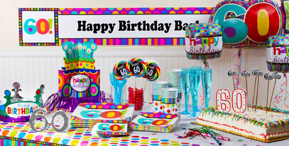 60th Birthday Dots & Stripes Party Supplies