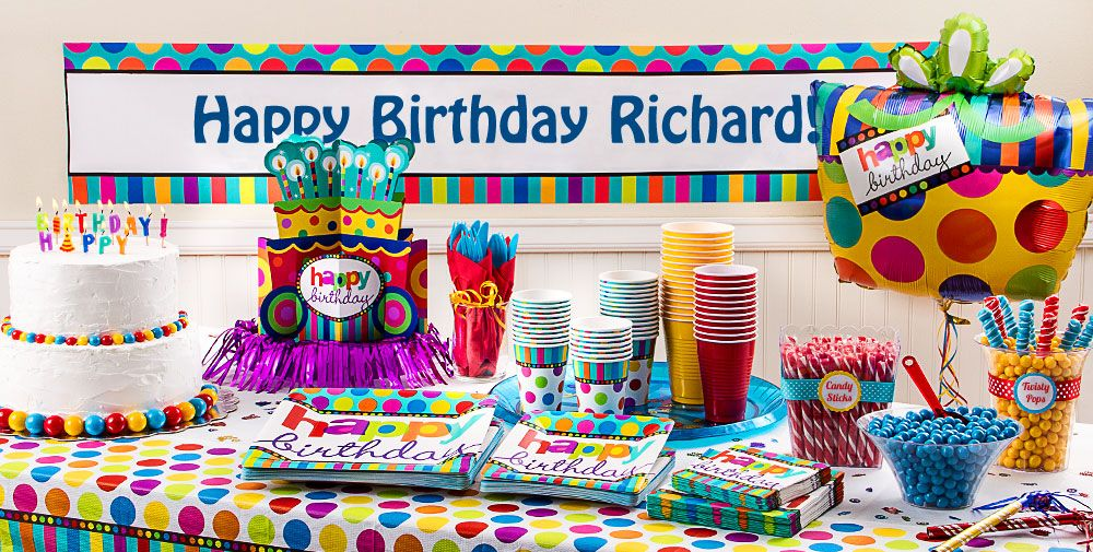 Happy Birthday Dots and Stripes Party Supplies