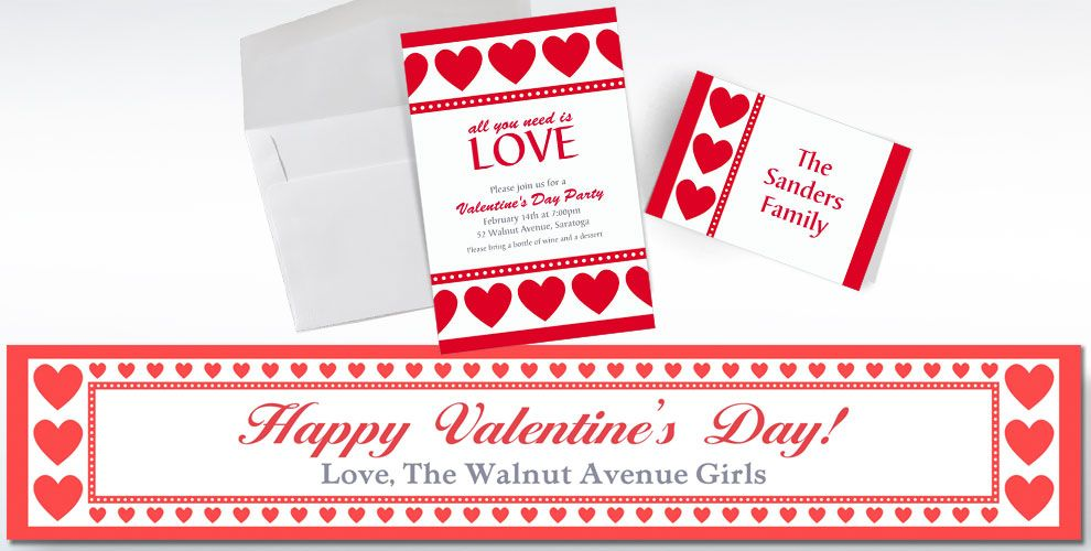 Custom ValentineS Day Invitations  Thank You Notes  Party City
