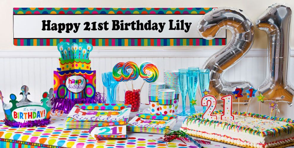 Dots & Stripes 21st Birthday Party Supplies