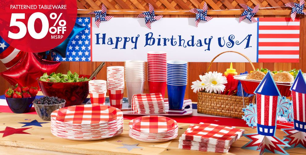 American Summer Red Gingham Party Supplies