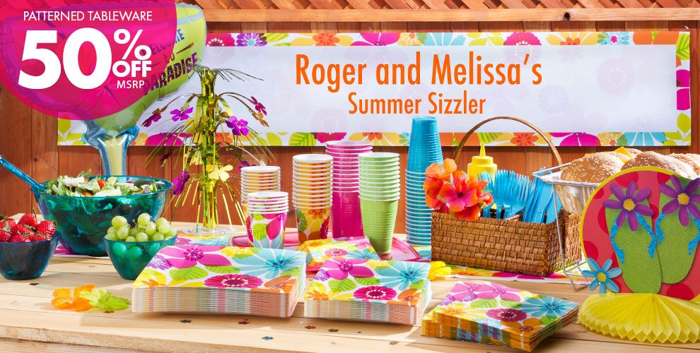 Day in Paradise Party Supplies – Patterned Tableware 50% off MSRP