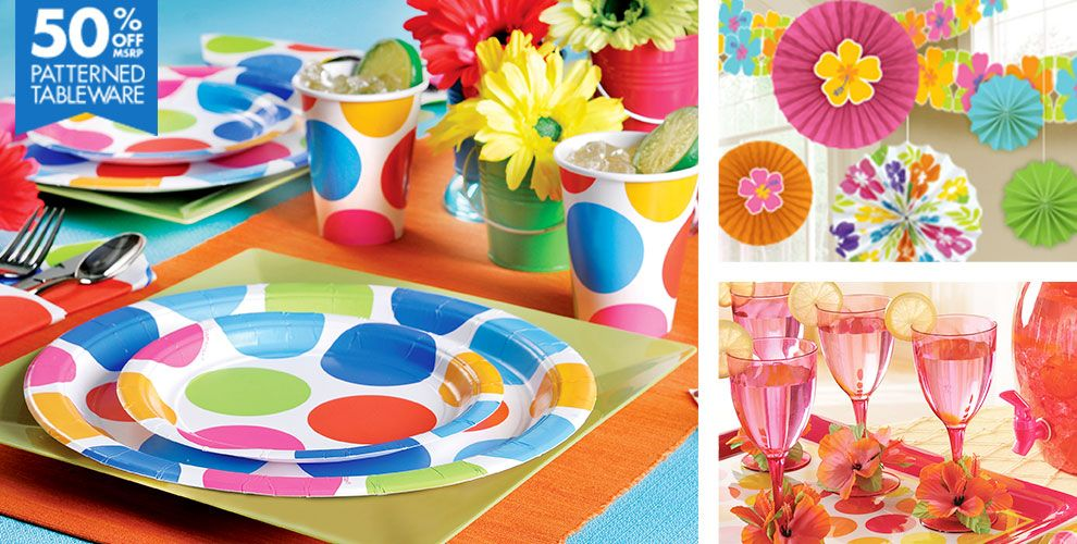 Cabana Polka Dot Personalize It Party Supplies