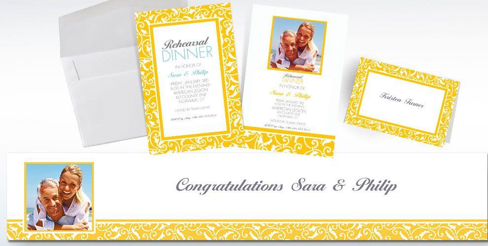 Custom Yellow Wedding Invitations Amp Thank You Notes